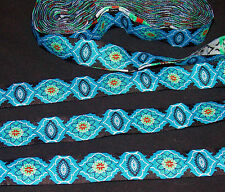 1m 22mm ethnic jacquard embroidered ribbon lace applique motif trimming decor