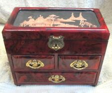 Vintage Oriental Wood Lacquered JEWELRY BOX with CARVED CORD Design with MIRROR