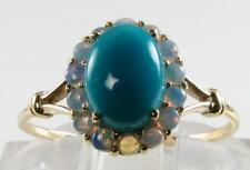 LOVELY  ENGLISH 9CT 9K GOLD 8mm x 6mm TURQUOISE & AUS OPAL CLUSTER RING