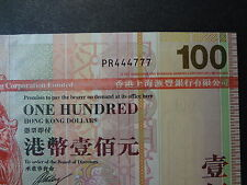 HONG KONG 2008 HSBC 100 DOLLARS, FANCY REPEATER NUMBER PR 444777, ULTRA GEM UNC