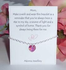 Mothers Day Gift Swarovski Pink Crystal Heart Element Silver Bracelet Mum Mom