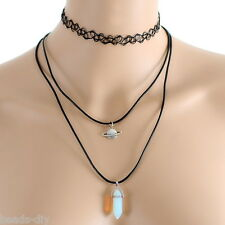 BD 1Set Saturn Planet Gemstone Pendant Multilayer Choker Necklace Punk Jewelry