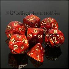 NEW 7pc Set Scarab Scarlet Red Gold RPG Dice D&D Game Chessex 7 piece
