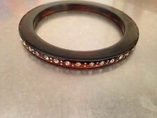 RHINESTONE EMBEDDED FAUX TORTOISE SHELL CELLULOID LUCITE BANGLE BRACELET Vintage