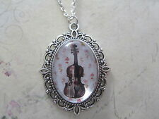 Black Musical Musician Violin Silhouette Silver Plated Necklace New in Gift Bag