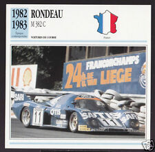 1982-1983 Rondeau M 382 C Le Mans Race Car Photo Spec Sheet Info French Card