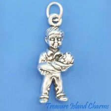 BOY WITH BABY BROTHER / SISTER 3D .925 Solid Sterling Silver Charm SIBLINGS