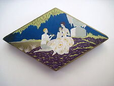 Art Deco Trinket Box In The Shape of a Diamond w/ Boy Playing Flute