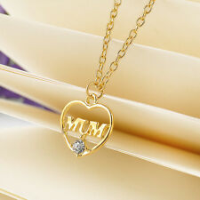 Charms Love Heart Mom Pendant Chain Necklace Gold Crystal Mum Mother's Day Gift