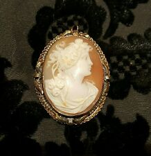ANTIQUE 10K VICTORIAN EDWARDIAN CARVED SHELL CAMEO BROOCH  SEED PEARL DETAILS