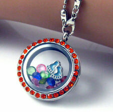 Round orange -Crystal Floating Charm Living Memory Silver Locket Necklace