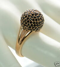 Bronzo Italia Bold Pave' Crystal Domed Bead Ring Size - 7 (Black)