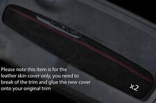 RED Stitch 2x ANTERIORE PORTA CARD IN PELLE SCAMOSCIATA copre gli accoppiamenti FIAT 500 & 500 Abarth 07-15