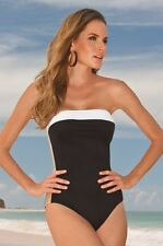 NWT 6 Boston Proper Anne Cole Signature Strapless Bandeau One Piece Swimsuit