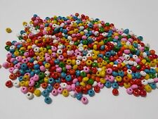 1000pcs 4mm WOODEN Round Donut SEED Beads ASSORTED MIXED (very small wood beads)