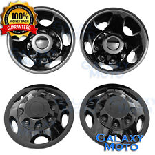 11-16 GMC Sierra 3500 DUALLY ONLY BLACK Wheel Simulator Liner+Center Caps Cover