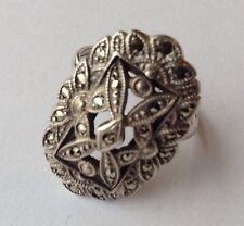 VINTAGE ART DECO STERLING SILVER MARCASITE RING SIZE 6 3/4