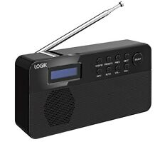 LOGIK L2DAB12 PORTABLE DAB FM RADIO LCD DISPLAY BLACK MAINS OR BATTERY POWERED