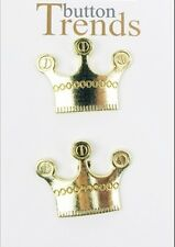 "7/8"" Button Trends Bright Gold Crown Shaped Metal Shank Style Buttons"