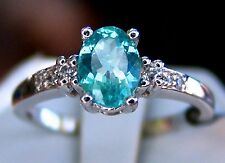 REDUCED! 1.40ct Blue Apatite w/White Topaz 925 Solid Sterling Silver Ring Size 8