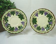 2-SAUCERS Vintage 1960'S Grape Leaf Vine Pattern Ceramic Pottery BJD DESKINES