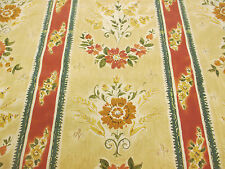 "Ornate Vintage Floral Striped ""Cecina"" Printed 100% Cotton Curtain Fabric"