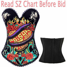 Size M Red Rose Snake Corset Top Bustier Lingerie Change SZ S-2XL Email US