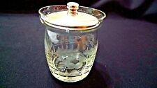 VINTAGE STERLING SILVER & ETCHED CRYSTAL CONDIMENT JAR