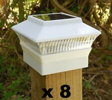 """8 Solar Fence Cap Post Lights 3 5/8"""" x 3 5/8"""" for 4x4 Wood Posts Only wd White"""