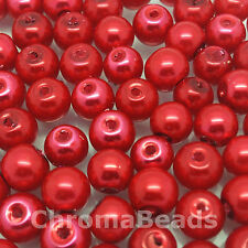 6mm Glass faux Pearls - Scarlet (bright red) - 100 beads, jewellery making