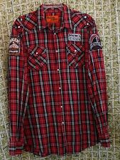 Red Plaid Cotton XXXL  Long Sleeve Rolling Paper Pearl Snap Shirt Biker Patch