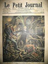 TRAIN LOCO TUNNEL DE POUCH  DIRIGEABLE COMTE DE LA VAULX LE PETIT JOURNAL 1909