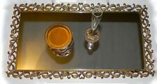 Set Jeweled Ormolu Perfume Tray Mirror Vase Jewelry Box Ornate Ribbon Vtg Vanity