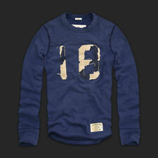 NEW Mens %ABERCROMBIE FITCH% Blue Vintage Long Sleeve Pullover T-Shirt Sz.M
