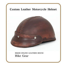 Custom leather motorcycle cowhide Half helmet bike helmet accessory