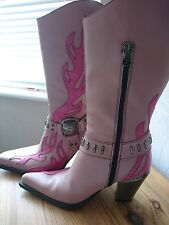New Rock leather gothic cowboy western mid calf pink flame studded boots size 4