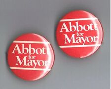 "Abbott for Mayor 1.25"" Political Campaign 2 Pinback Button Lot Local Advertising"