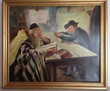 VTG ORIGINAL JEWISH JUDAICA HEBREW  RABBI ART PAINTING OIL ON CANVAS SIGNED
