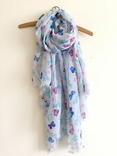 LADIES WHITE BLUE PINK BUTTERFLY FLORAL BLOSSOM FLOWER PRINT OVERSIZED SCARF
