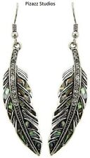 Antique Silver Abalone Feather Dangle Drop Hook Earrings   20-5