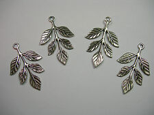 Silver Plated Brass Leaf Leaves Pendant Drops Earring Findings - 4