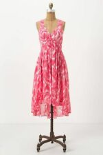 Anthropologie Postmark Shaped Feather Dress pink printed sz 6 semi sheer summer