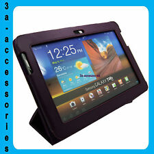 Fine Leather Flip Case Folio Stand Samsung Galaxy Tab 2 10.1 P7500 P5100- Purple
