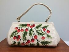 Vtg Needlepoint Purse Cherries & Leaves
