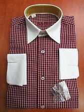 Vins de bourgogne carreaux double boutons de manchette chemise pour garçon 3-4-5-6-7-8-11-12-15-16 ans