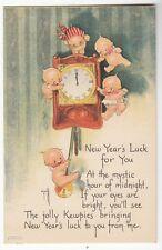 """Old Postcard Kewpies by Rose O'Neil (5 Kewpies) """"New Year's Luck"""""""