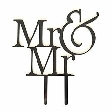 MR and MR Black Acrylic Wedding Cake Topper Monogram Same Sex Groom & Groom Gay