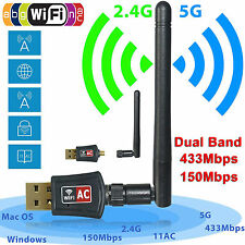 Dual Band 2.4/5Ghz 600 Mbps Wireless USB WiFi Network Adapter w/Antenna 802.11AC