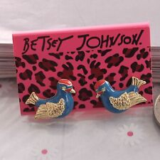 NEW Charm Betsey Johnson Beautiful Crystal Navy Birds Alloy BJ Earrings BJEA005