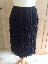 STUNNING ANTTHONY STUDIO BLACK RUFFLED KNEE LENGTH SKIRT UK SIZE S (6-8) BNWT